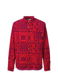 Camisa de manga larga estampada roja de Sacai