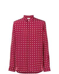 Camisa de manga larga estampada roja de Saint Laurent