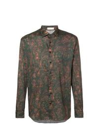 Camisa de manga larga estampada verde oscuro de Etro