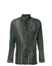 Camisa de manga larga estampada verde oscuro de Issey Miyake Men