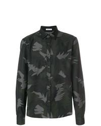 Camisa de manga larga estampada verde oscuro de Tomas Maier