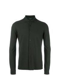 Camisa de manga larga verde oscuro de Zanone
