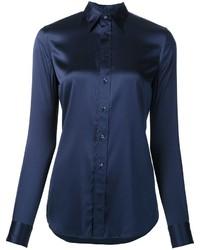 Camisa de seda azul marino de Ralph Lauren