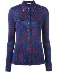 Camisa de seda de tartán azul de Tory Burch