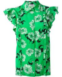 Camisa de seda estampada verde de P.A.R.O.S.H.