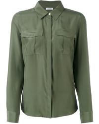 Camisa de seda verde oliva de P.A.R.O.S.H.