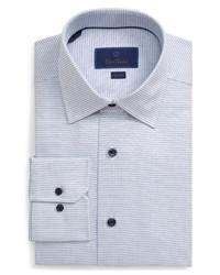 Camisa de vestir a cuadros en blanco y azul marino