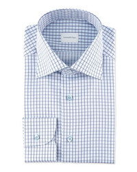 Camisa de vestir a cuadros en blanco y azul