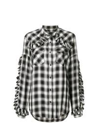Camisa de vestir a cuadros en negro y blanco de Forte Dei Marmi Couture