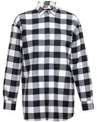 Camisa de vestir a cuadros en negro y blanco de MSGM