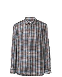 Camisa de vestir a cuadros marrón de Loro Piana