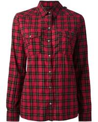 Camisa de vestir a cuadros roja de Diesel