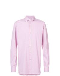 Camisa de vestir a cuadros rosada de Kiton