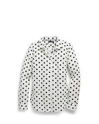 Camisa de vestir a lunares en blanco y negro