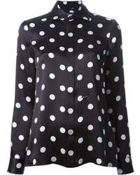 Camisa de Vestir a Lunares en Negro y Blanco de DSquared