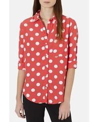 Camisa de vestir a lunares en rojo y blanco