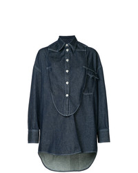 Camisa de vestir azul marino de MM6 MAISON MARGIELA