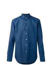 Camisa de Vestir Azul de Canali