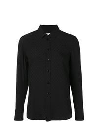 Camisa de vestir bordada negra de Saint Laurent
