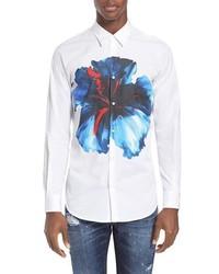 Camisa de Vestir con print de flores Blanca