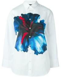 Camisa de vestir con print de flores blanca de Dsquared2