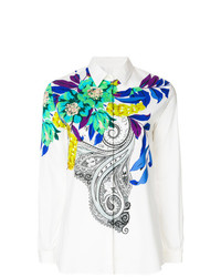 Camisa de vestir con print de flores blanca de Etro