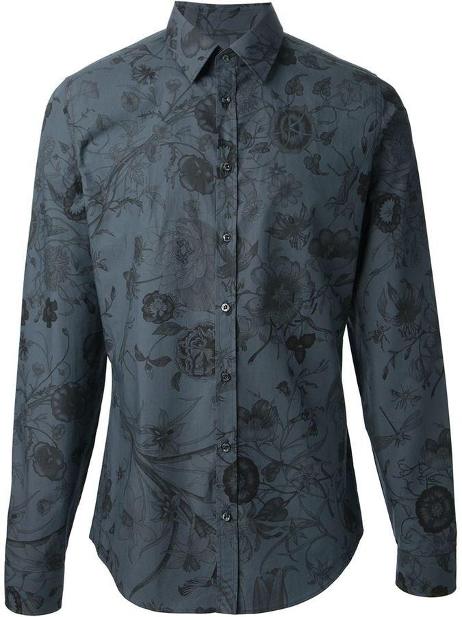 2d18e748b Camisa de vestir con print de flores en gris oscuro de Gucci, MEX ...