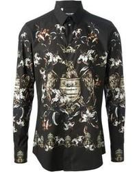 Camisa de vestir con print de flores negra