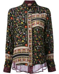 Camisa de Vestir con print de flores Negra de No.21