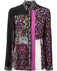 Camisa de vestir con print de flores negra de Versace