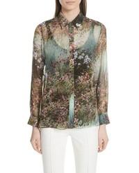 Camisa de vestir con print de flores verde