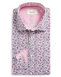 Camisa de vestir con print de flores violeta claro