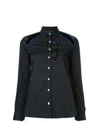 Camisa de vestir con volante azul marino de Kolor