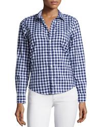 Camisa de vestir de cuadro vichy azul marino