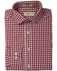 Camisa de vestir de cuadro vichy burdeos