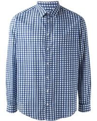 Camisa de vestir de cuadro vichy en blanco y azul de MSGM