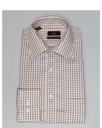 Camisa de vestir de cuadro vichy en blanco y marrón