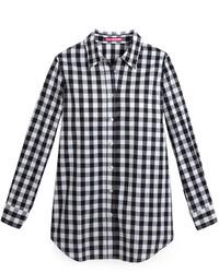Camisa de vestir de cuadro vichy en blanco y negro