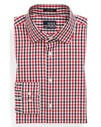 Camisa de vestir de cuadro vichy en blanco y rojo y azul marino