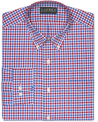Camisa de vestir de cuadro vichy en rojo y azul marino