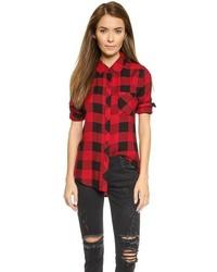 Camisa de vestir de cuadro vichy en rojo y negro