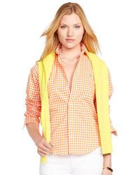 Camisa de vestir de cuadro vichy naranja