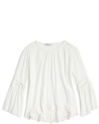 Camisa de vestir de encaje blanca