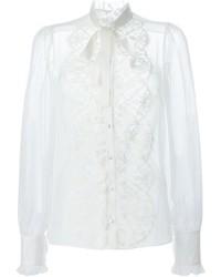 Camisa de vestir de encaje blanca de Dolce & Gabbana