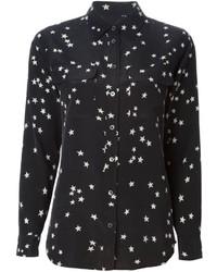 Camisa de Vestir de Estrellas en Negro y Blanco de Equipment