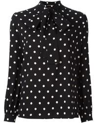 Camisa de Vestir de Gasa a Lunares en Negro y Blanco de Saint Laurent