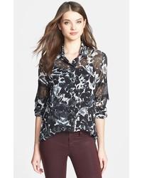 Camisa de vestir de gasa estampada en negro y blanco