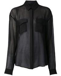 Camisa de vestir de gasa negra