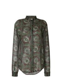 Camisa de vestir de paisley verde oliva de Saint Laurent