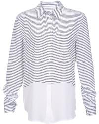 Camisa de vestir de rayas horizontales en blanco y negro